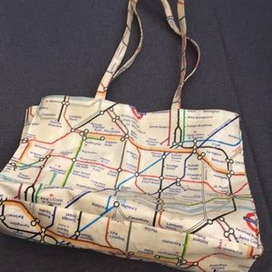Handbags - Vintage tote with map of London Underground
